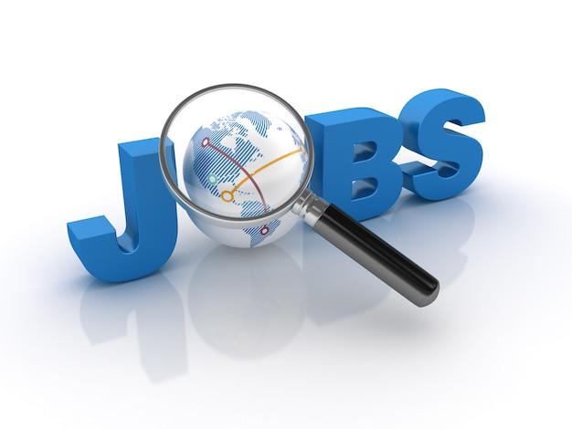 Parola jobs 3d con globe world e lente d'ingrandimento