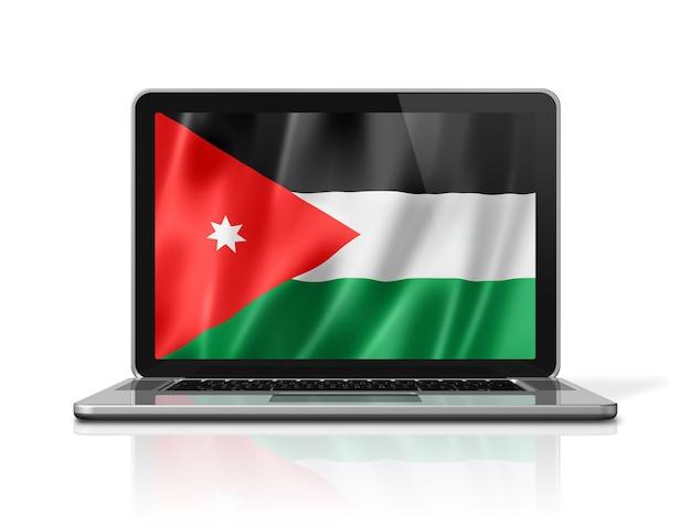 Bandiera della giordania sullo schermo del laptop isolato su bianco. rendering di illustrazione 3d.