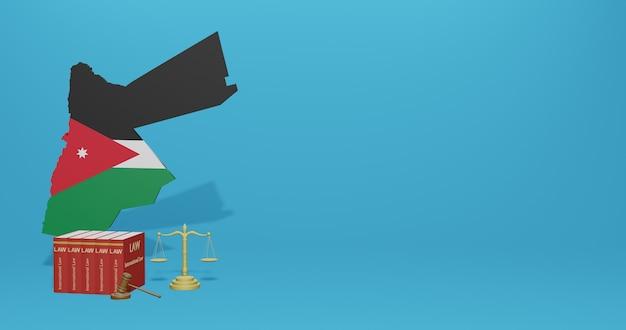 Legge giordana per infografiche, contenuti dei social media nel rendering 3d