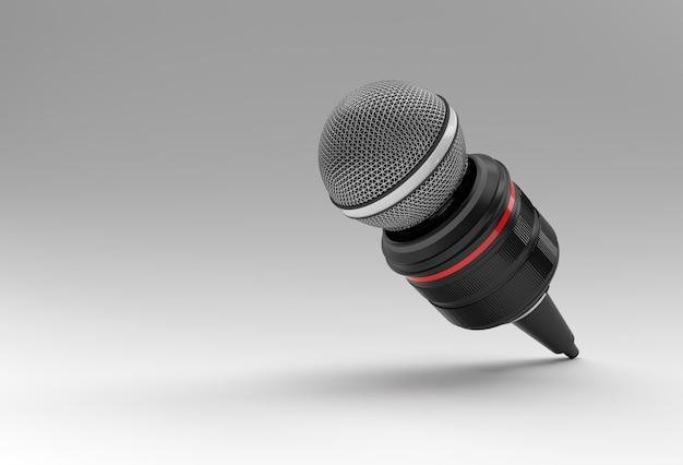 Concetto di giornalismo. notizie in diretta mic con fotocamera 3d renderind background