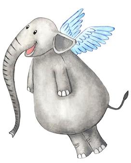Un gioioso elefante con le ali dietro la schiena e un lungo tronco illustrazione infantile disegnata a mano