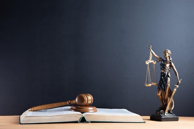 Martelletto del giudice e bilancia della giustizia e sfondo del libro