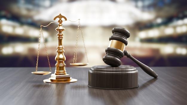 Giudici martelletto e scala di giustizia sullo sfondo di legno nero, vista dall'alto. concetto di diritto. rendering 3d.