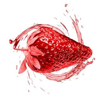 Fragole succose in una spruzzata d'acqua, in modo efficace.