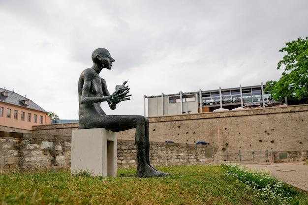 Luglio 2021, erfurt germania, uomo con un animale, una nuova scultura a erfurt