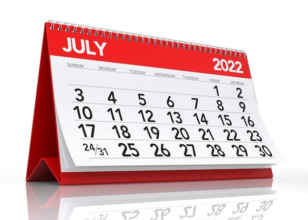 Calendario luglio 2022. isolato su sfondo bianco. illustrazione 3d