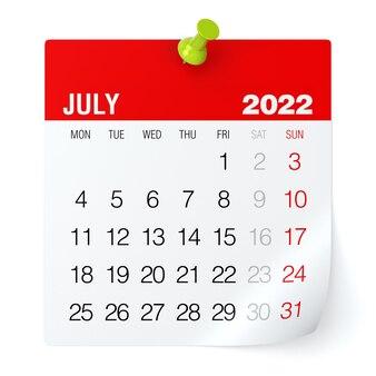 Luglio 2022 - calendario. isolato su sfondo bianco. illustrazione 3d