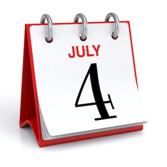 Rendering 3d del calendario di luglio