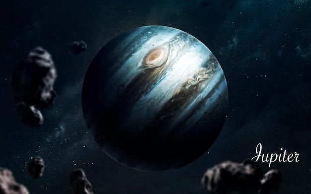 Giove. pianeti di qualità impressionante del sistema solare. perfetta immagine scientifica in 5k. elementi di questa immagine forniti dalla nasa Foto Premium