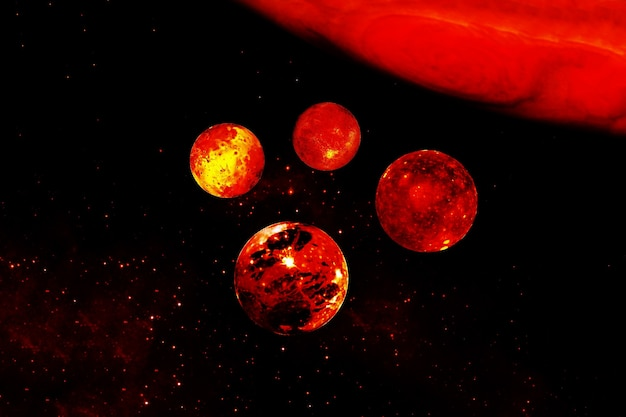 Giove con i satelliti. gli elementi di questa immagine sono stati forniti dalla nasa. foto di alta qualità