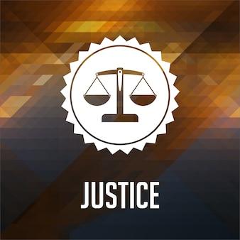 Concetto di giustizia. design dell'etichetta retrò. hipster fatto di triangoli, effetto flusso di colore.
