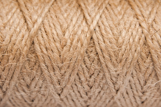 Corda di iuta. sfondo naturale corda marrone sisal