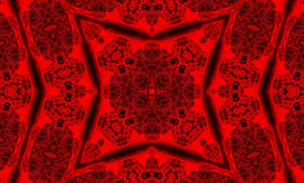 Sfondo caleidoscopio. forme astratte di frattali. bella trama caleidoscopio satanico. modello frattale colorato caotico di fantasia. design unico del caleidoscopio. inferno segno del diavolo.