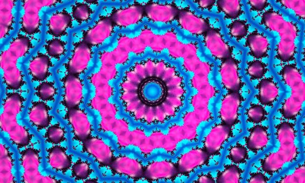 Un modello caleidoscopio con forme poligonali e rombi in colore rosa