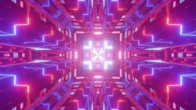 Illustrazione 3d caleidoscopica di ornamento astratto colorato luminoso incandescente con luci al neon e tunnel di formazione