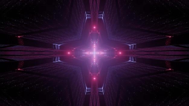 Illustrazione caleidoscopica 3d del tunnel a forma di croce vivido che brilla di luce viola nell'oscurità