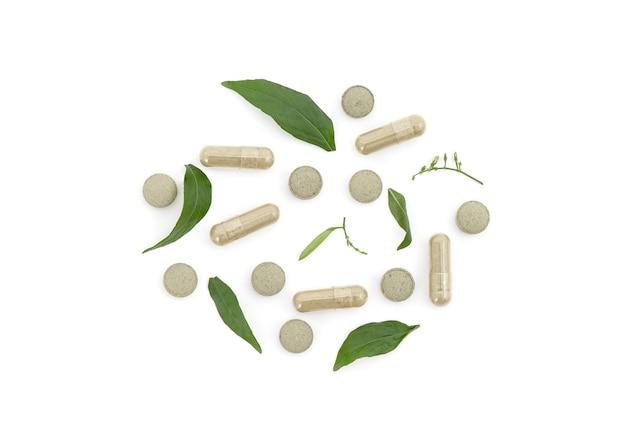 Kariyat o andrographis paniculata, foglia verde, capsule e tablet isolati su bianco