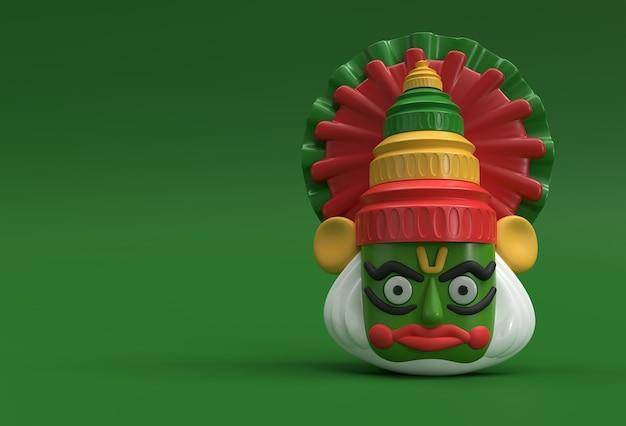 Kathakali faccia con corona pesante decorata, illustrazione rendering 3d.