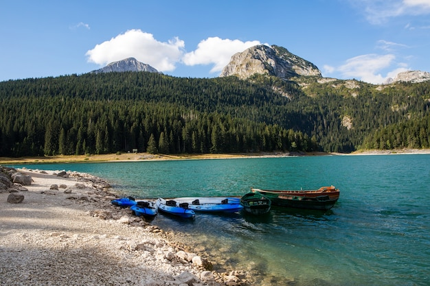 Le barche dei kayak stanno nel lago nelle montagne del montenegro