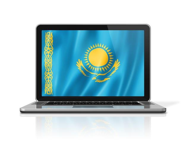 Bandiera del kazakistan sullo schermo del computer portatile isolato su bianco. rendering di illustrazione 3d.