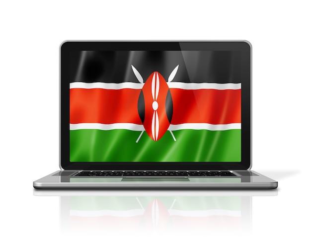 Bandiera del kenya sullo schermo del computer portatile isolato su bianco. rendering di illustrazione 3d.