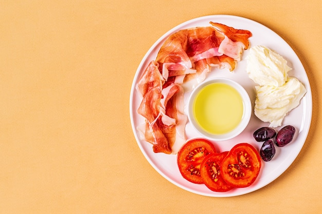 Cibo dietetico chetogenico, concetto di pasto sano, vista dall'alto, copia dello spazio.
