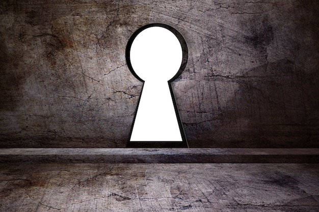 Buco della serratura sul muro di cemento
