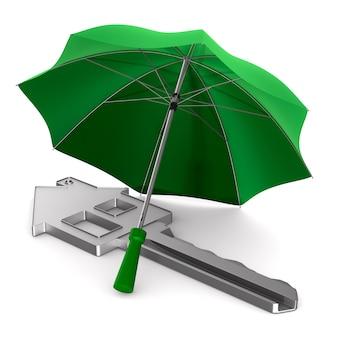 Chiave sotto l'ombrello isolato