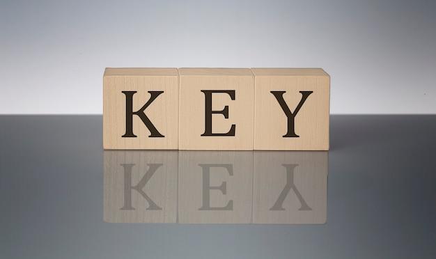 Parola chiave realizzata con blocchi di costruzione isolati su sfondo grigio