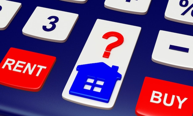 Pulsanti della tastiera con parole compra, vendi e icona di casa con punto interrogativo