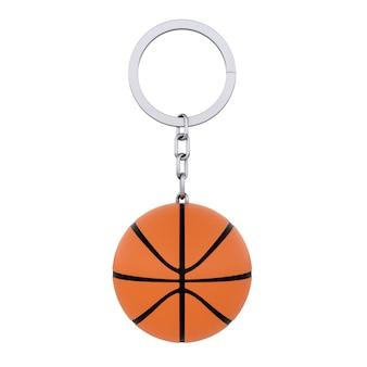 Anello portachiavi con palla da basket su sfondo bianco. rendering 3d