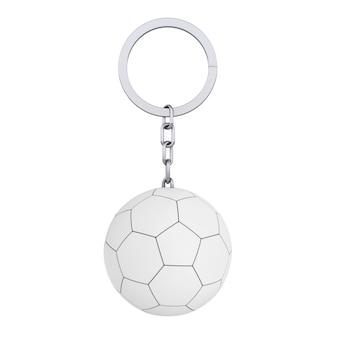 Anello portachiavi con pallone da calcio in pelle bianca in stile argilla su sfondo bianco. rendering 3d