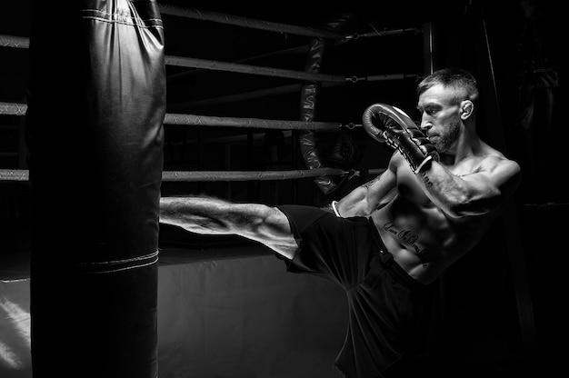 Kickboxer prende a calci il sacco. allenare un atleta professionista. il concetto di mma, wrestling, muay thai. tecnica mista