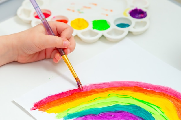 Kid pittura arcobaleno durante la quarantena.