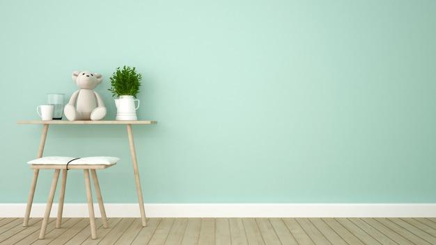 Stanza del bambino nel tono verde - rappresentazione 3d