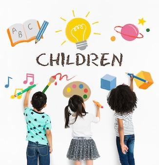 Bambini bambini prima educazione icone