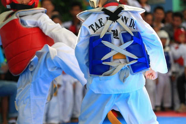 Bambini che combattono sul palco durante il torneo di taekwondo