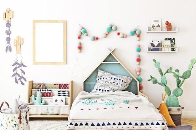 Mockup di cornice per camera dei bambini in stile scandinavo
