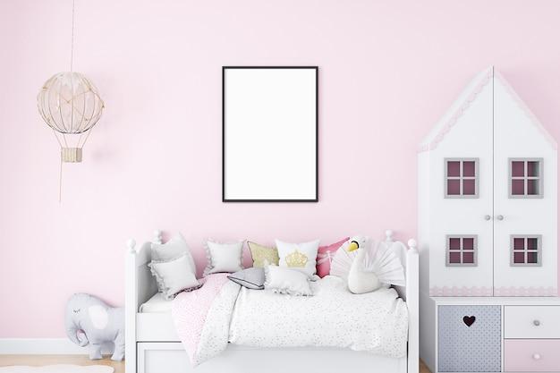 Mockup per camera dei bambini a4 rosa
