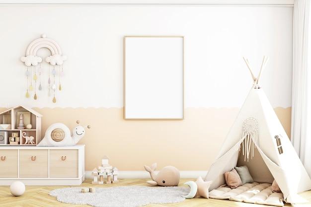 Mockup di camera per bambini in stile boho mockup di cornice a4