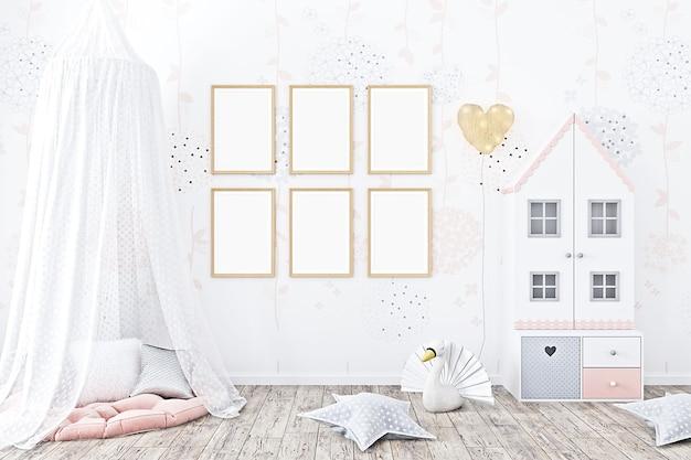 Mockup per la camera dei bambini con carta da parati con stelle dorate