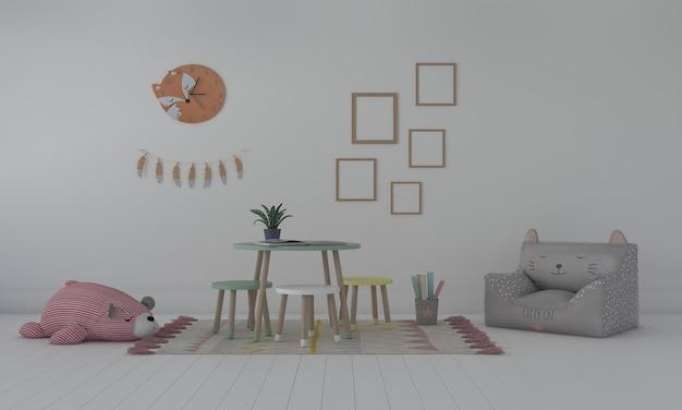 Camera dei bambini, casetta dei giochi, mobili per bambini con giocattoli e mockup a cinque frame