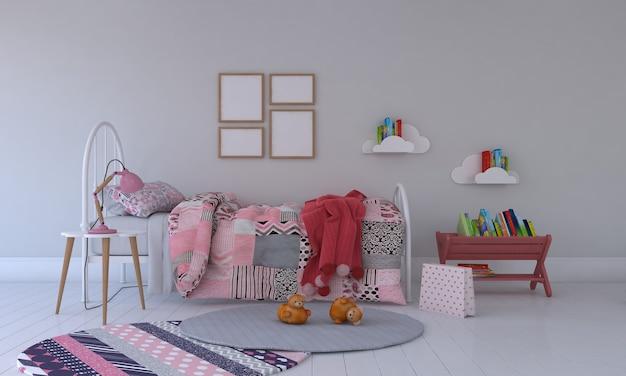 Camera dei bambini, casetta dei giochi, mobili per bambini con giocattoli e mockup a quattro fotogrammi
