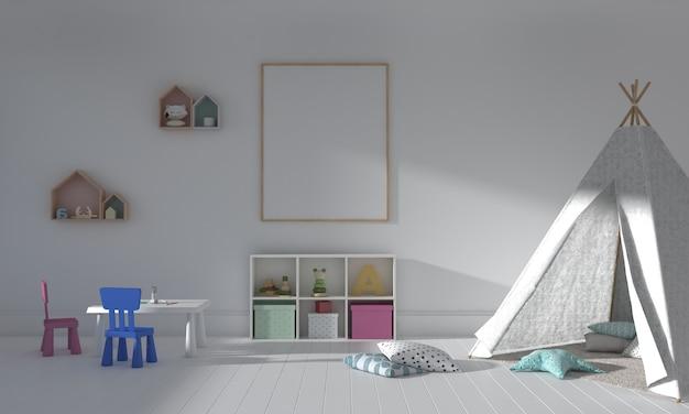 Camera dei bambini, casetta dei giochi, mobili per bambini con giocattoli e mockup di cornice