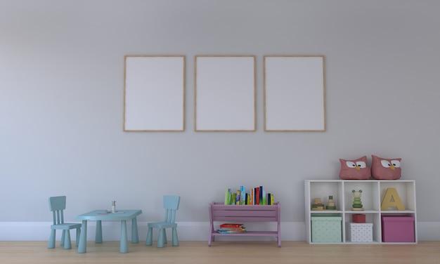 Camera dei bambini, casetta dei giochi, mobili per bambini con giocattoli e mockup a tre frame
