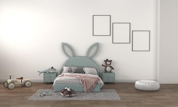 Camera dei bambini, casetta dei giochi, mobili per bambini con giocattoli e mockup di tre cornici