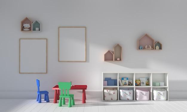 Camera dei bambini, casetta dei giochi, mobili per bambini con giocattoli e mockup a due cornici