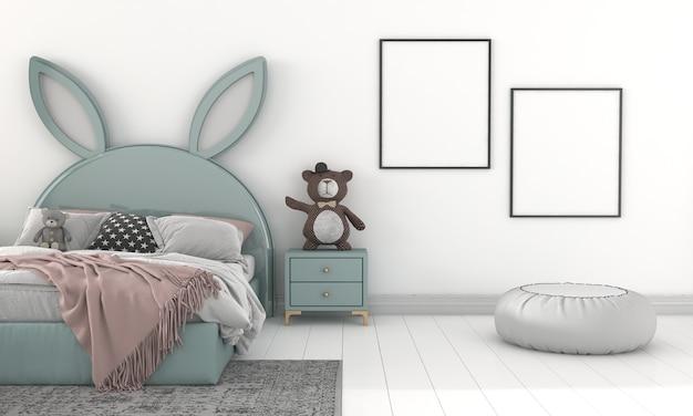 Camera dei bambini, casetta dei giochi, mobili per bambini con giocattoli e mockup di due cornici