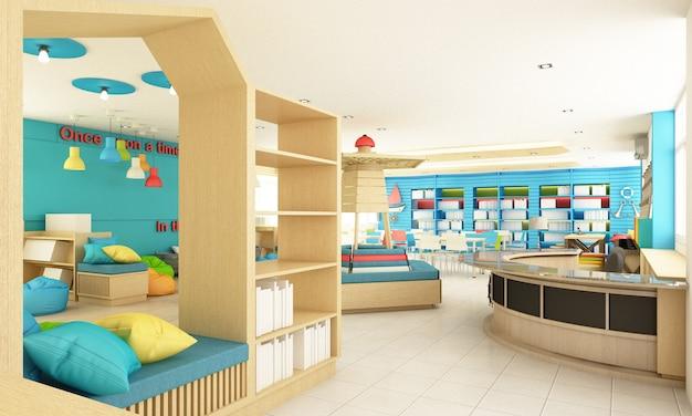 Interior design della biblioteca della scuola per bambini per studenti con colori e legno. divertimento e concetto di oceano rendering 3d