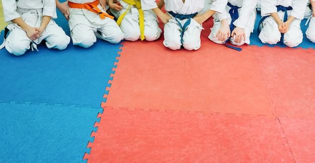 Ragazzi che si allenano sul karate-do.